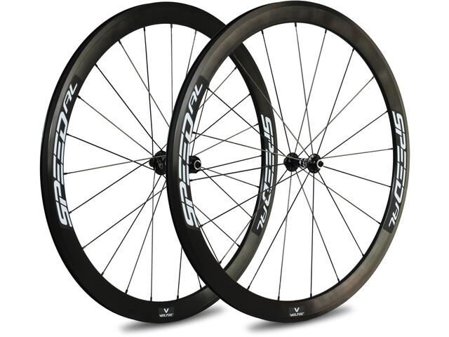 Veltec Speed AL Set Di Ruote Bici Da Corsa Freno Su Cerchione 42mm QR Shimano, white